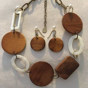 """Vintage Chunky Wood Chain Necklace & Earrings, 15"""""""